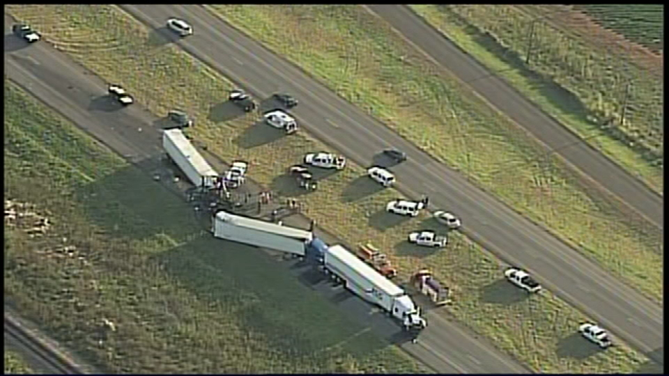 It happened at about 5:45pm Thursday evening five miles south of Pearsall on I-35. (SBG Photo)