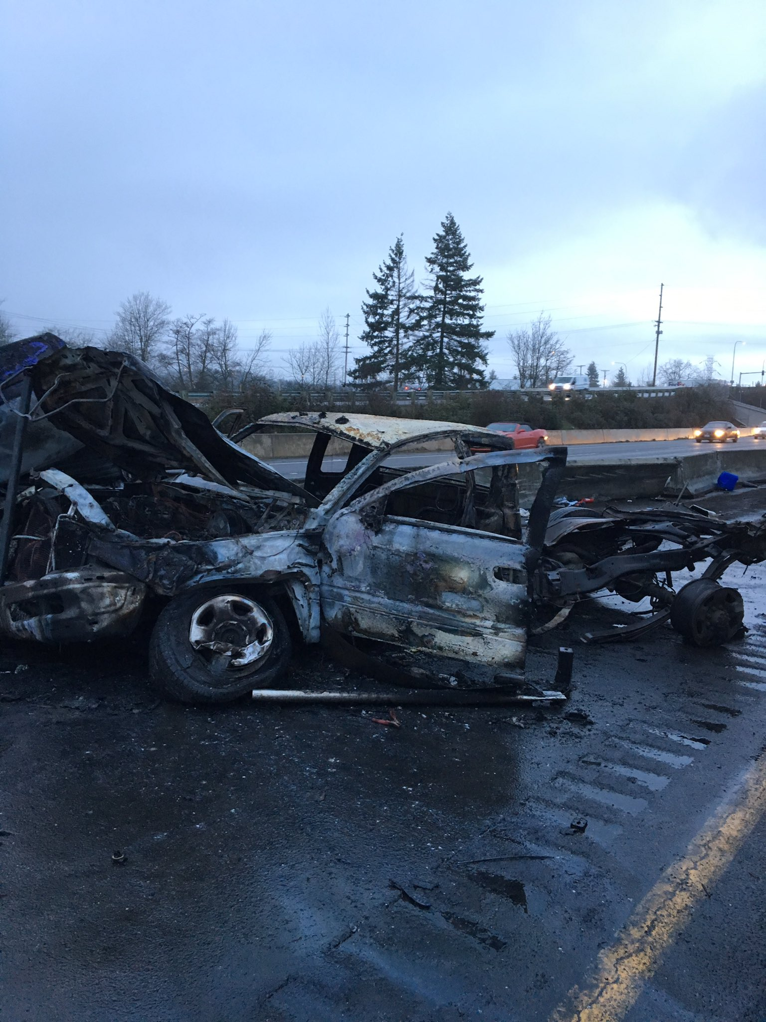 One person was seriously injured and airlifted in a crash on I-5 south near Chehalis on Feb. 6, 2018. Photo courtesy Trooper Will Finn