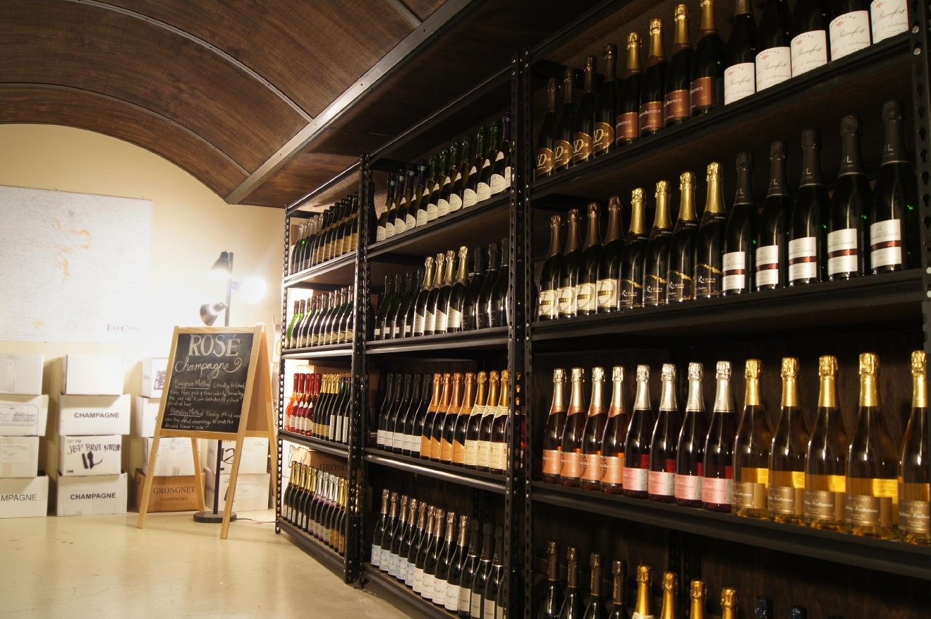 Shelves of Champagne at Seattle's Fat Cork. (Image: Fat Cork)