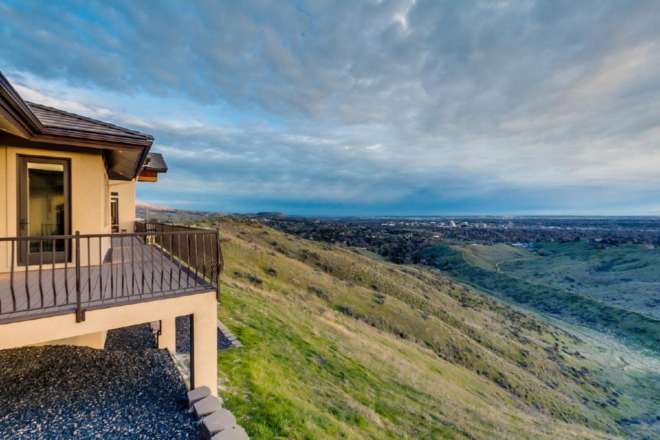"One of the finest view properties in all of Idaho overlooking downtown Boise and the entire Treasure Valley. A majestic home high on a prominent ridge with 360-degree views of the valley and surrounding foothills (from every window). Behind the access-controlled gate and long driveway sits this masterful design providing its owners the ultimate in comfort and privacy. A main-level Master Suite opens to expansive deck, ""Infinity Pool"" and path to the observation point. Nanny Suite w/ private entrance. Information: Alei Merrill Gothberg (208-573-1619)"