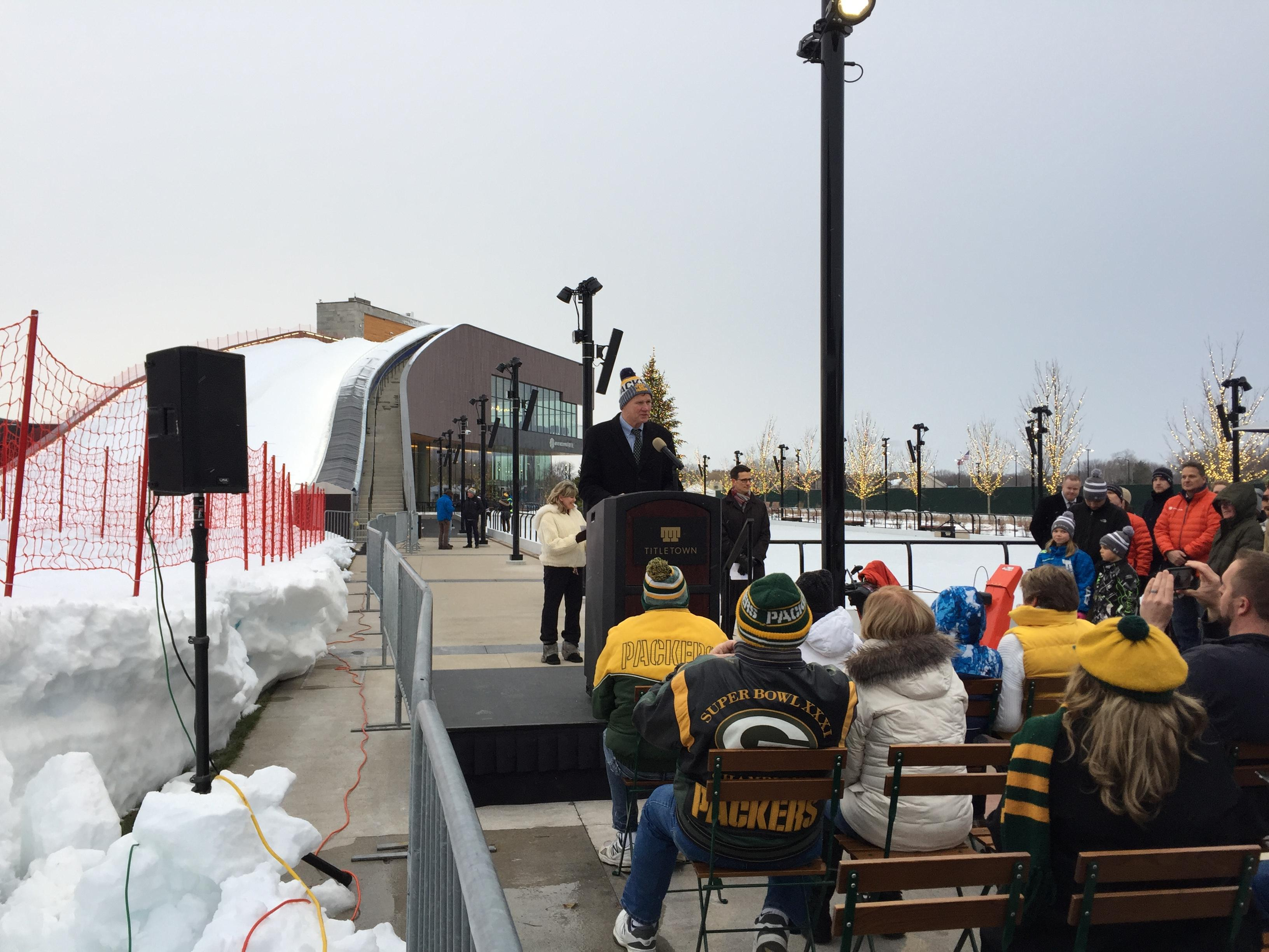 Packers president, Mark Murphy, talks ahead of Ariens Hill grand-opening in the Titletown District, December 21, 2017. (WLUK/Ben Krumholz)