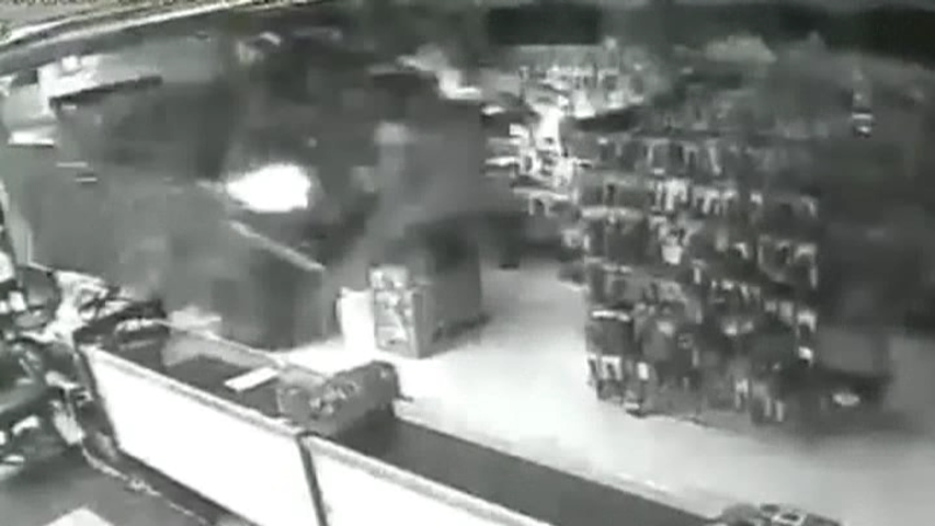 Surveillance video shows a truck that rammed a Florida gun shop. (Photo via Zephyrhills, Florida Police)