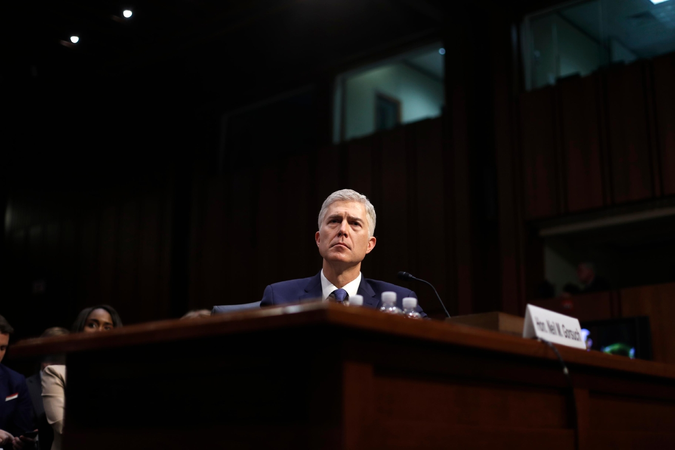 Supreme Court Justice nominee Neil Gorsuch arrives on Capitol Hill in Washington, Monday, March 20, 2017, for his confirmation hearing before the Senate Judiciary Committee. (AP Photo/Pablo Martinez Monsivais)