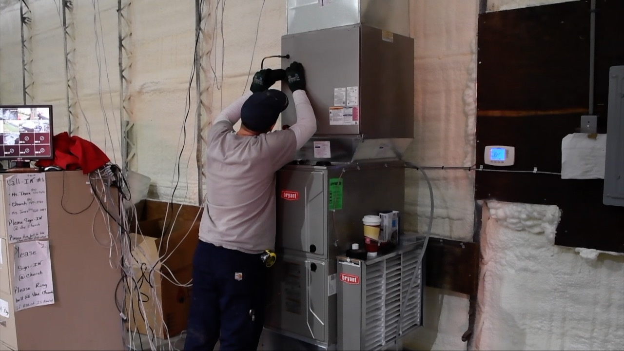 Goyette Mechanical install central air system at R.L. Jones Community Outreach Center in Flint.