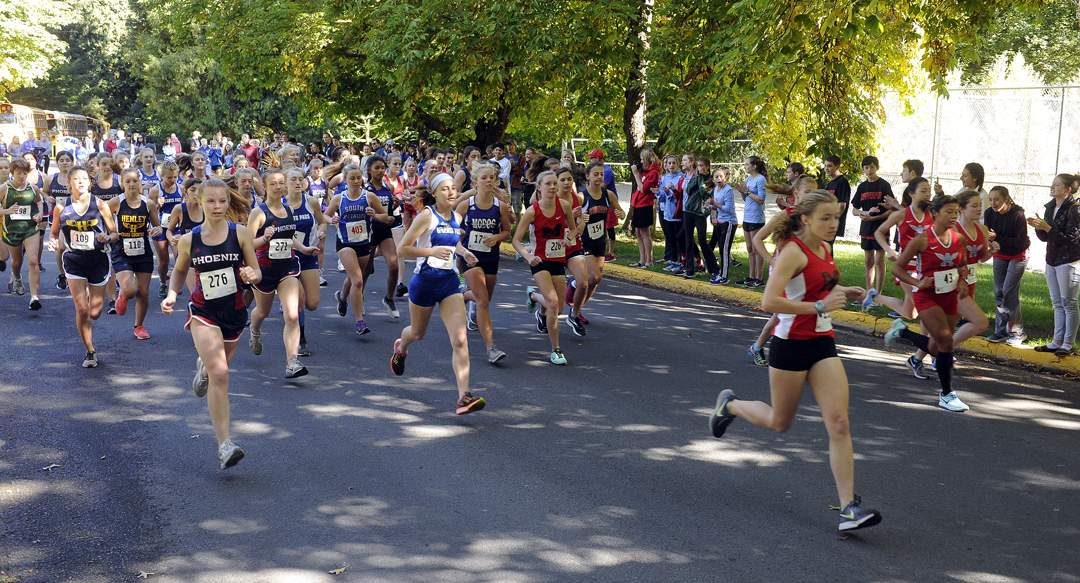 State of Jefferson Cross Country meet in Ashland's Lithia Park 9-30-17. Girls JV Race - Andy Atkinson