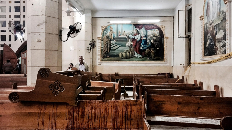 Egypt Coptic church dual bombings bloody pew.jpg