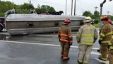 Tanker leaking diesel fuel in roll over crash snarls traffic in East Greenwich