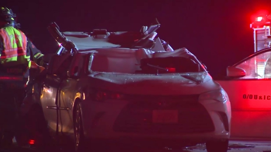 A taxicab was rear-ended on Interstate 95 in Attleboro, early Saturday, March 18, 2017, killing a passenger. (WCVB)