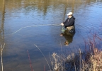 Fly fisherman Ryan Thompson in the Kewaunee River.jpg
