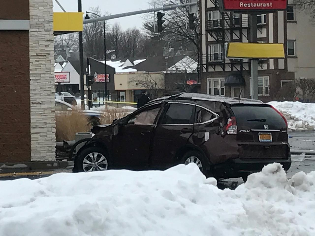 A man was seriously injured after crashing his car outside a McDonald's at the corner of Lexington and Lake Avenues Saturday afternoon.