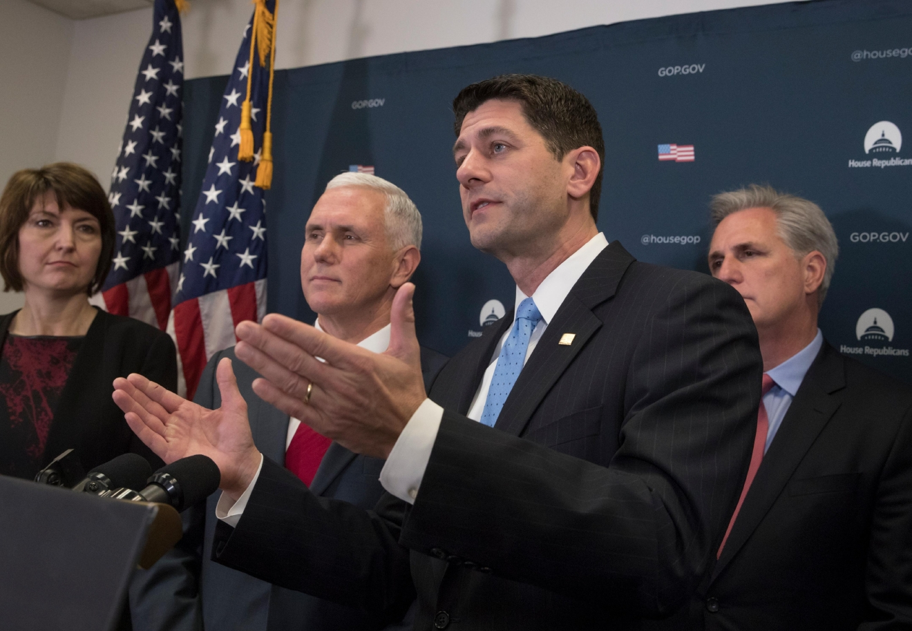 Vice President-elect Mike Pence joins House Speaker Paul Ryan of Wis., and other House Republican leaders at a news conference on Capitol Hill in Washington, Wednesday, Jan. 4, 2017. (AP Photo/J. Scott Applewhite)