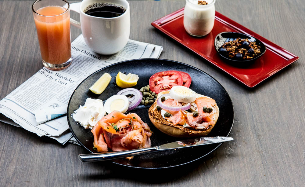 Bagel & Lox: Smoked salmon, caper, onion, tomato, hard-boiled egg, cream cheese; with house-made Yogurt & Granola (Image: Aubrie Pick)
