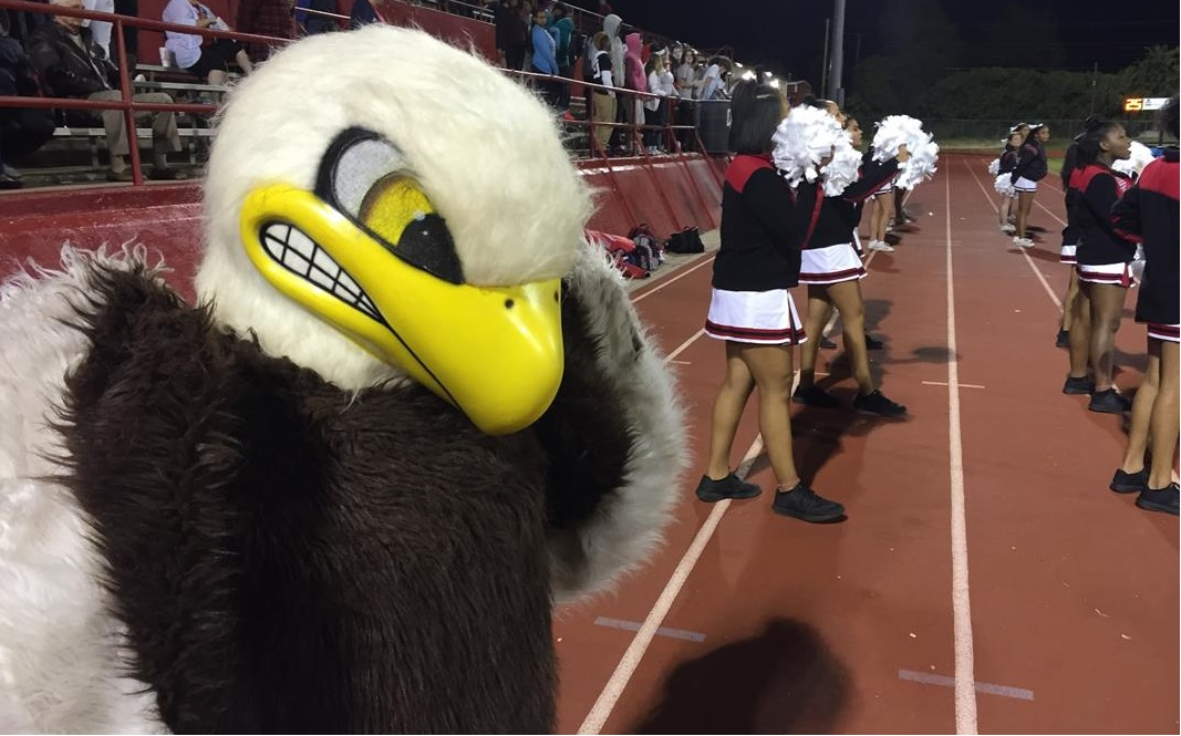 The mascot for the Del City Eagles can be seen along the sidelines during the football game when Ardmore played Del City on Thursday, Oct. 20, 2016 (Ben Latham / KOKH)