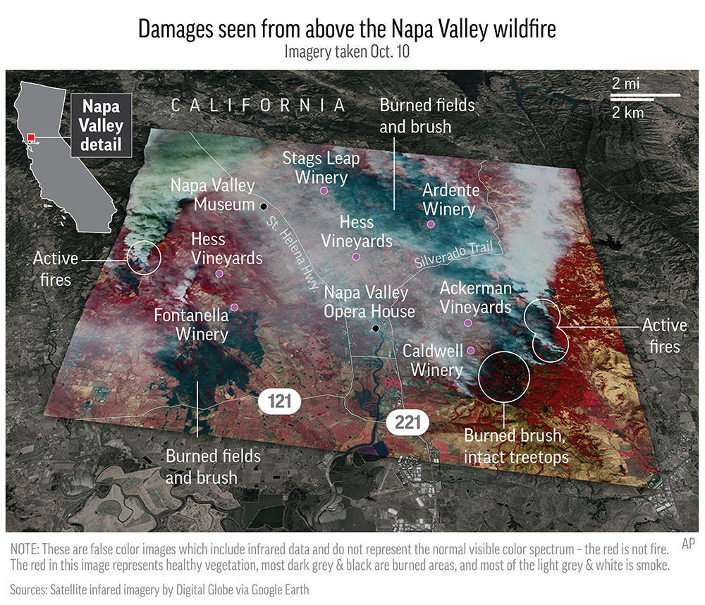 Graphic shows thermal satellite imagery from above the Napa Valley wildfire and annotates some areas of damage; 4c x 5 inches; 195.7 mm x 127 mm;