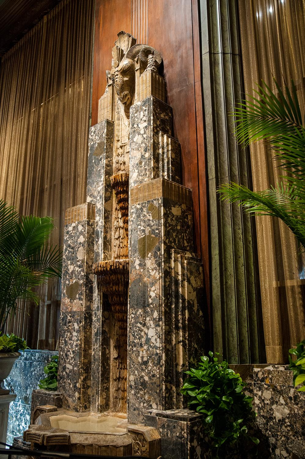 BUILDING: Hilton Cincinnati Netherland Plaza / LOCATION: 35 W 5th St (45202) -- Downtown / TIDBIT: The Rookwood fountain, found inside Orchids at Palm Court / IMAGE: Melissa Doss Sliney