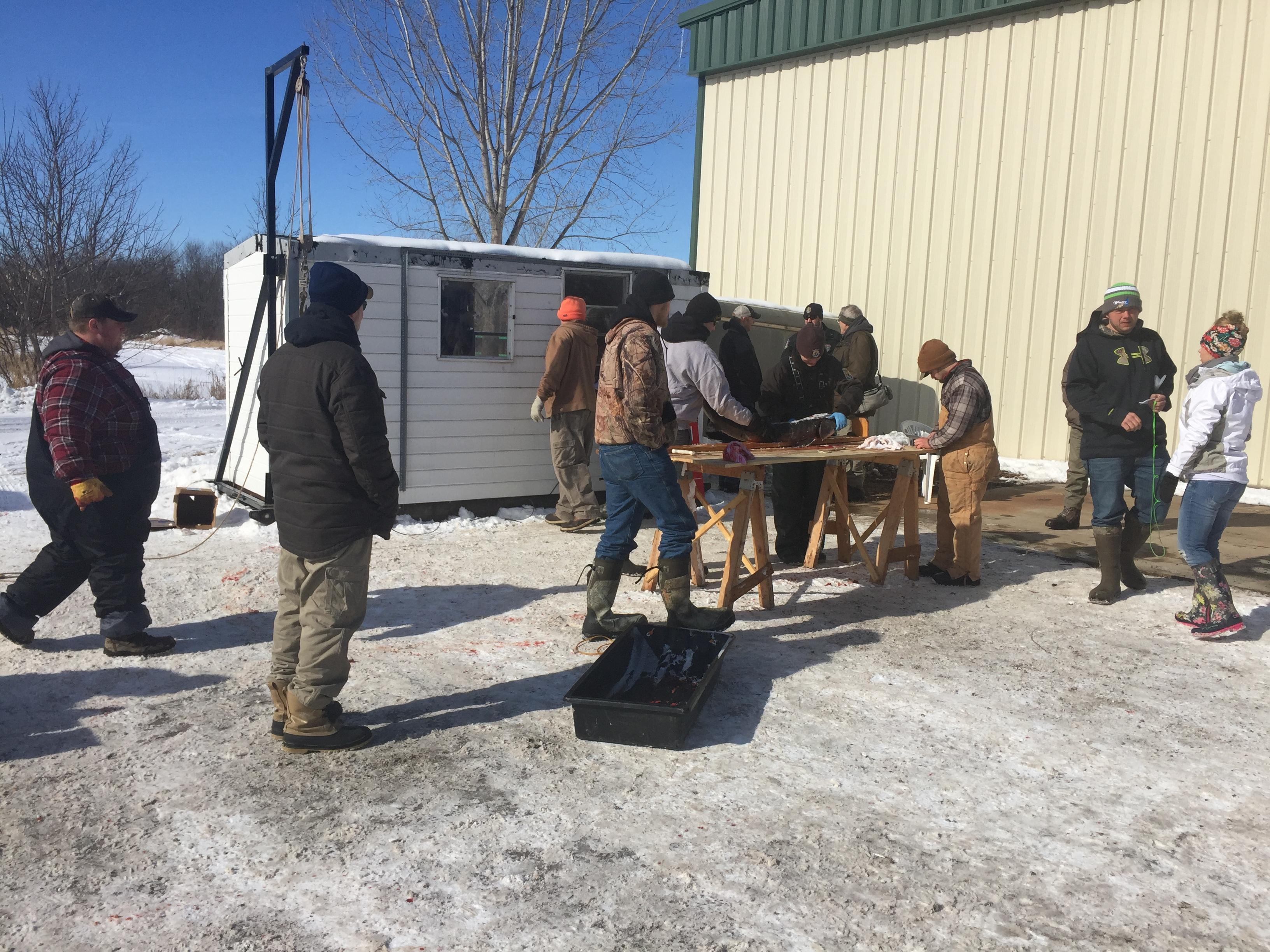 Critters sturgeon registration station in Winneconne on Saturday, Feb. 10, 2018. (WLUK/Eric Peterson)