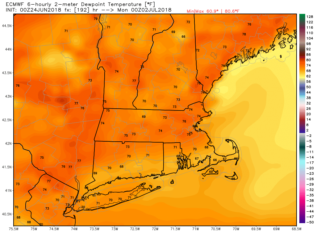 Sunday July 1 could see tropical type dew points in the 70s!{&amp;nbsp;}<p></p>