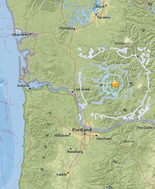 A 3.9-magnitude earthquake was recorded near Mount St. Helens on Jan. 3, 2018. Image courtesy USGS<p></p>