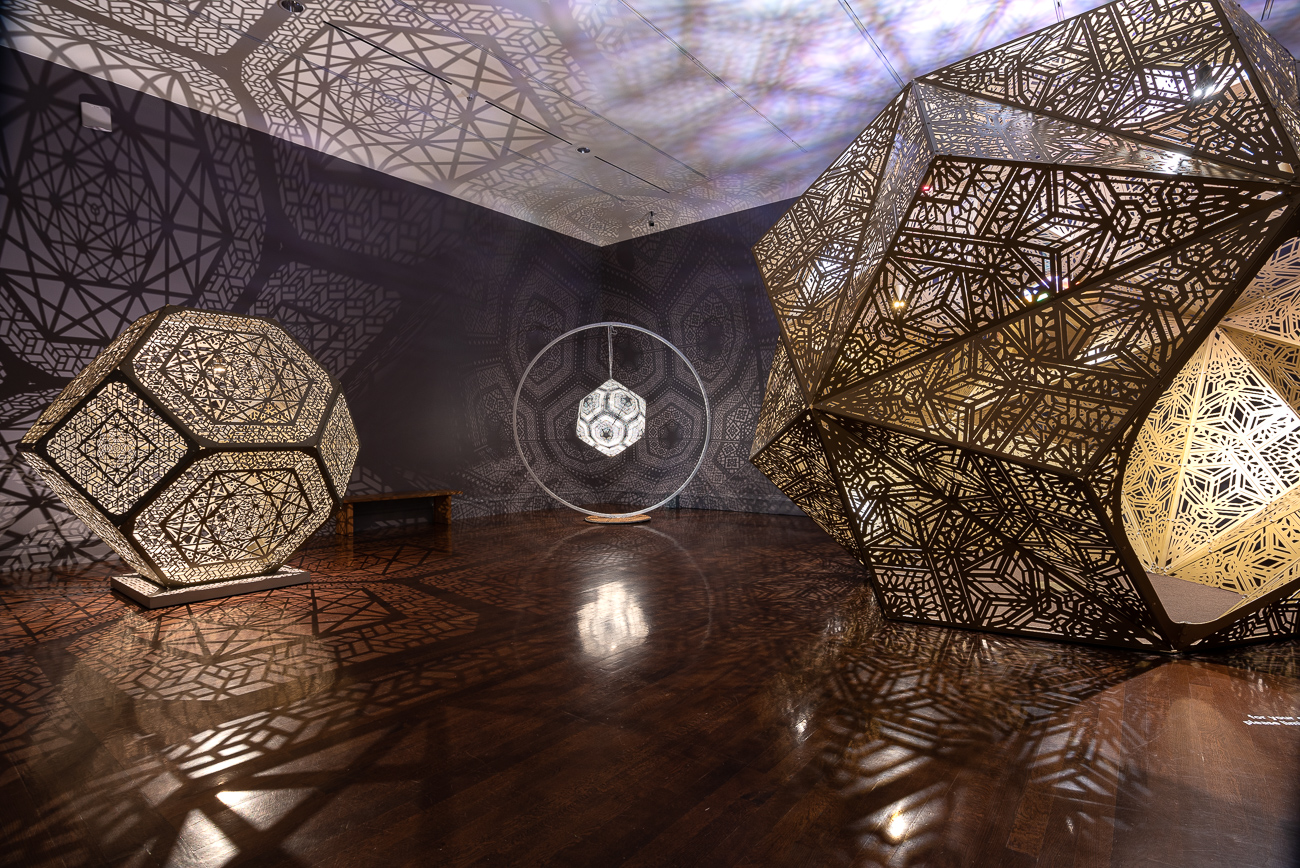 No Spectators: The Art of Burning Man, while still smoldering from its hot feature in DC's prestigious Renwick Gallery, spreads its colorful tendrils throughout two floors of the Cincinnati Art Museum from now until September 2, 2019. CAM is the only museum in the entire Midwest that's planned to receive the show, attracting spectators (despite its title) from peer cities around the country. Burning Man is a contemporary art show that gathers in the desert outside Reno, Nevada once a year. The exhibit, which pulls art from Burning Man, puts installations in various galleries throughout the museum to encourage exploration. Pictured: Deep Thought—Insight (2018), Inner Orbit: Lvov (2017), and Trocto (2014) by HYBYCOZO / Image: Phil Armstrong, Cincinnati Refined // Published: 6.21.19