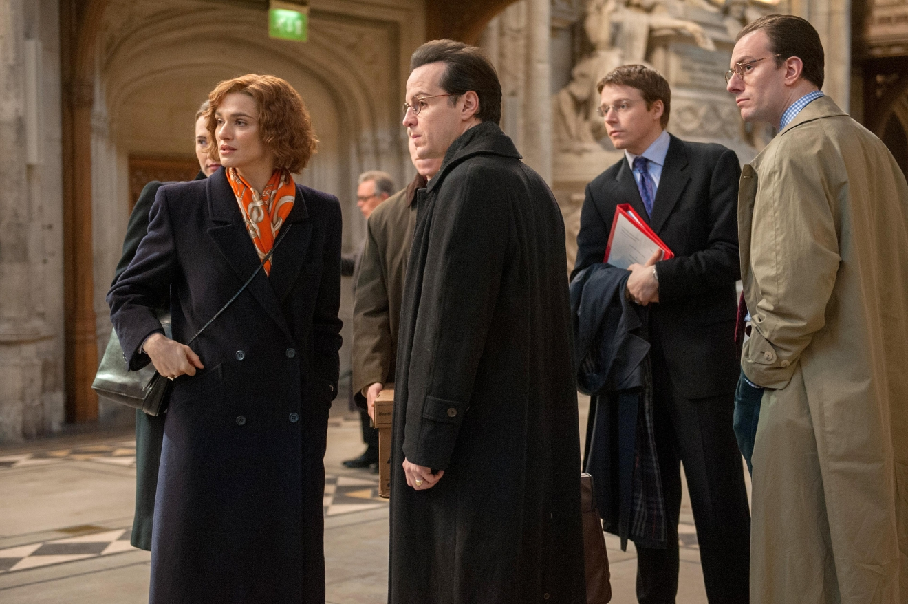 "(l to r) Rachel Weisz stars as acclaimed writer and historian Deborah E. Lipstadt, Andrew Scott as Anthony Julius, Jack Lowden as James Lisbon and Pip Carter as Forbes Watson in ""Denial."". Credit: Liam Daniel / Bleecker Street"