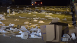 Big rig hauling trailer full of toilet paper bound for San Antonio crashes, catches fire
