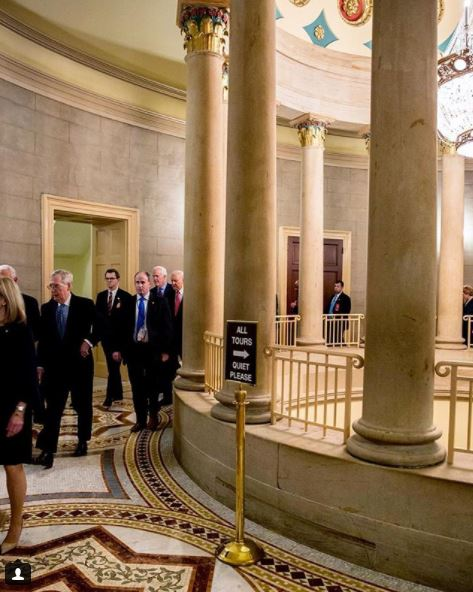 Post: Senate procession through the small Senate rotunda for State of the Union address. #SOTU (Image: via IG user @johncornyn/instagram.com/johncornyn/){&amp;nbsp;}<p></p>