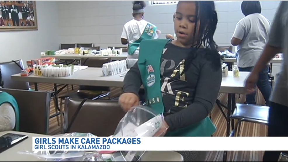 kalamazoo girl scout troop creates care packages for