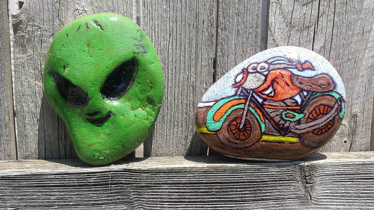 The NKY Hidden Rocks Facebook page started in 2017 by founder Jo Price Craven to combat negativity she was seeing online. The concept is to design a rock with inspiring words or images, hide it in the community, and brighten someone's day when they find it. They can then keep the rock, re-hide it, or replace it with one of their own to keep the positive, traveling rocks in circulation. / Artist & Image: Jamie Sizemore // Published: 8.17.19