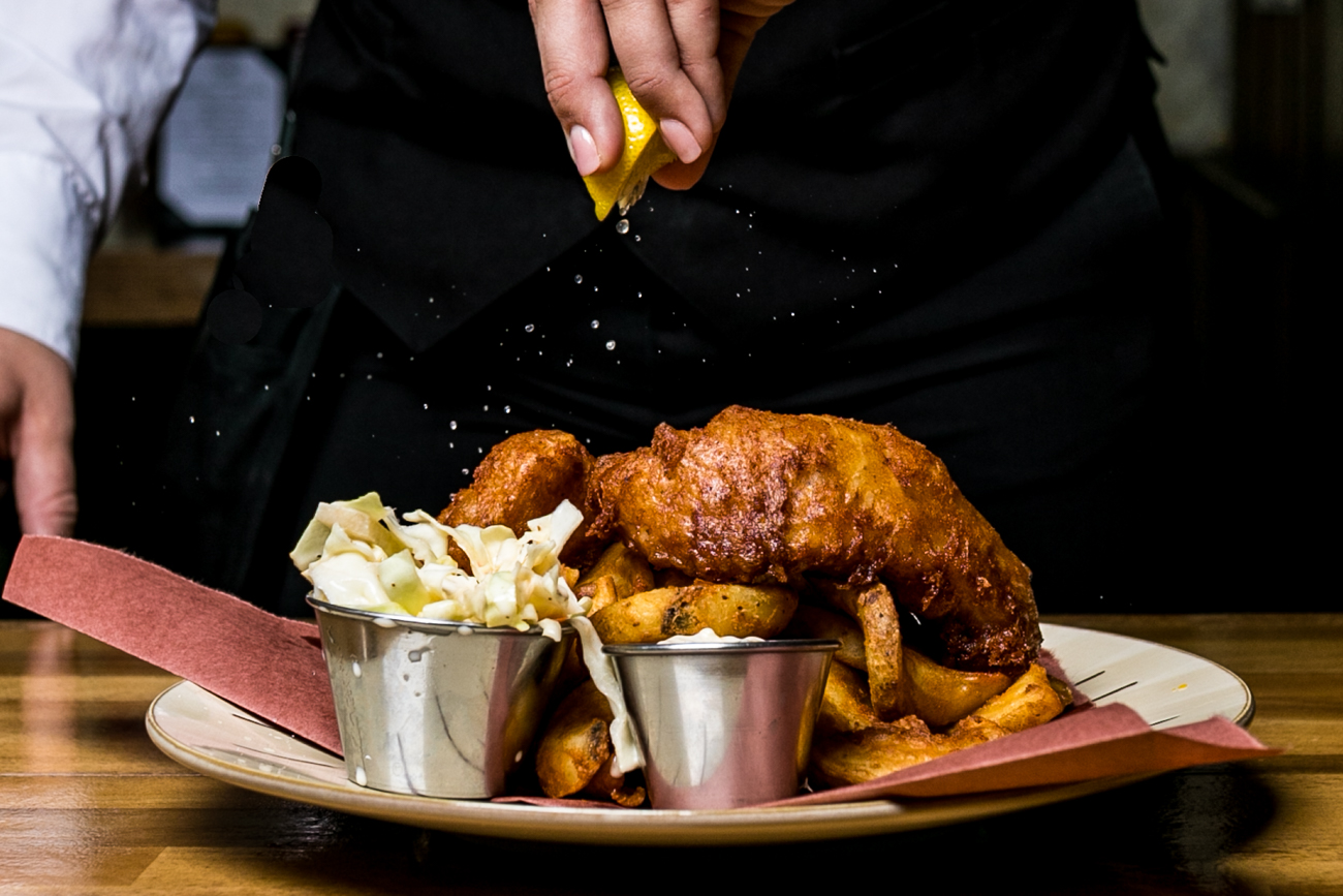 <p>Fretboard Beer Battered Cod served with Irish potato chips, Irish apple slaw, and tartar sauce / Image: Amy Elisabeth Spasoff // Published: 4.29.19</p>