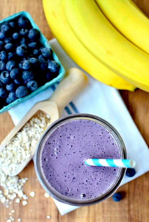 Iowa Girl Eats knows the perfect breakfast is a blueberry muffin. She takes this classic treat and adds in extra nutrition to make a delicious Blueberry Muffin Smoothie. (Image: Iowa Girl Eats)