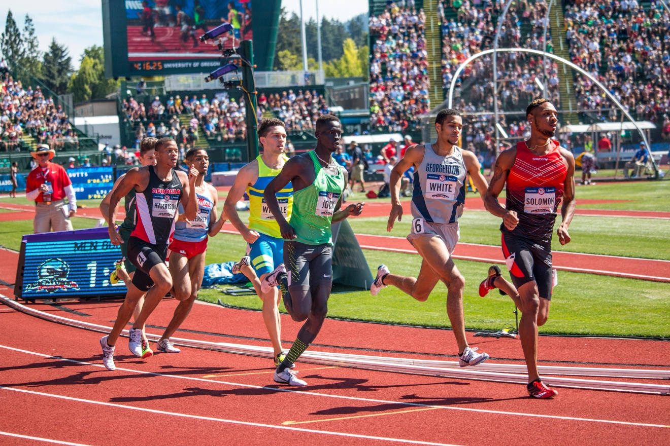 Runners compete in the first heat of the prelims for the men�s 800 meter run. Windle and White qualified for the finals on Thursday with 1:48.66 and 1:48.68.  Day One of the U.S. Olympic Trials Track and Field began on Friday at Hayward Field in Eugene, Ore. and will continue through July 10. Photo by Katie Pietzold