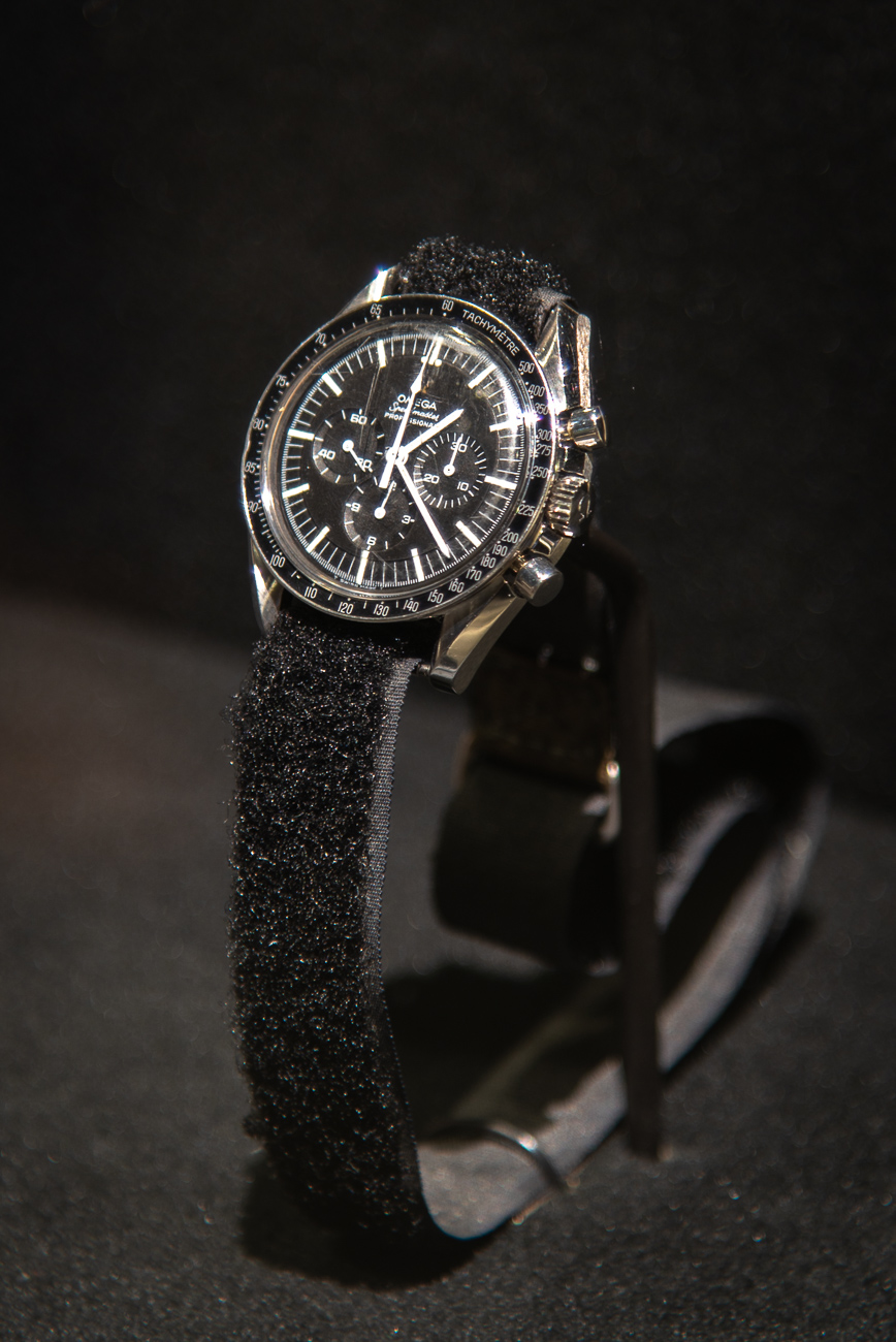 Michael Collins' personal chronograph is on display. It is an Omega Speedmaster Chronograph that has a VELCRO strap that allowed Collins to wear it over his bulky spacesuit. / Image: Phil Armstrong, Cincinnati Refined // Published: 10.2.19