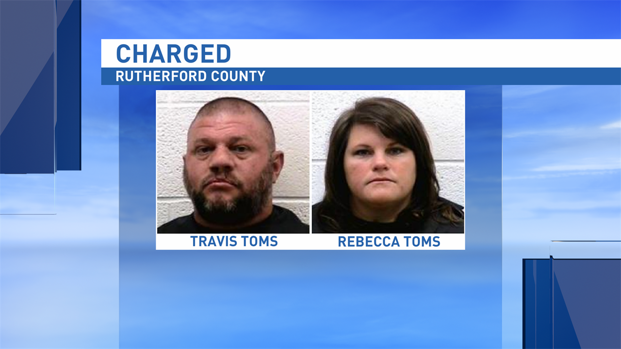 Travis Toms and his son are charged with second-degree sexual exploitation of a minor. Rebecca Toms is charged with felony obstruction of justice. Both Travis and Rebecca Toms are teachers at RS Central High School. (Rutherford County Sheriff's Office)
