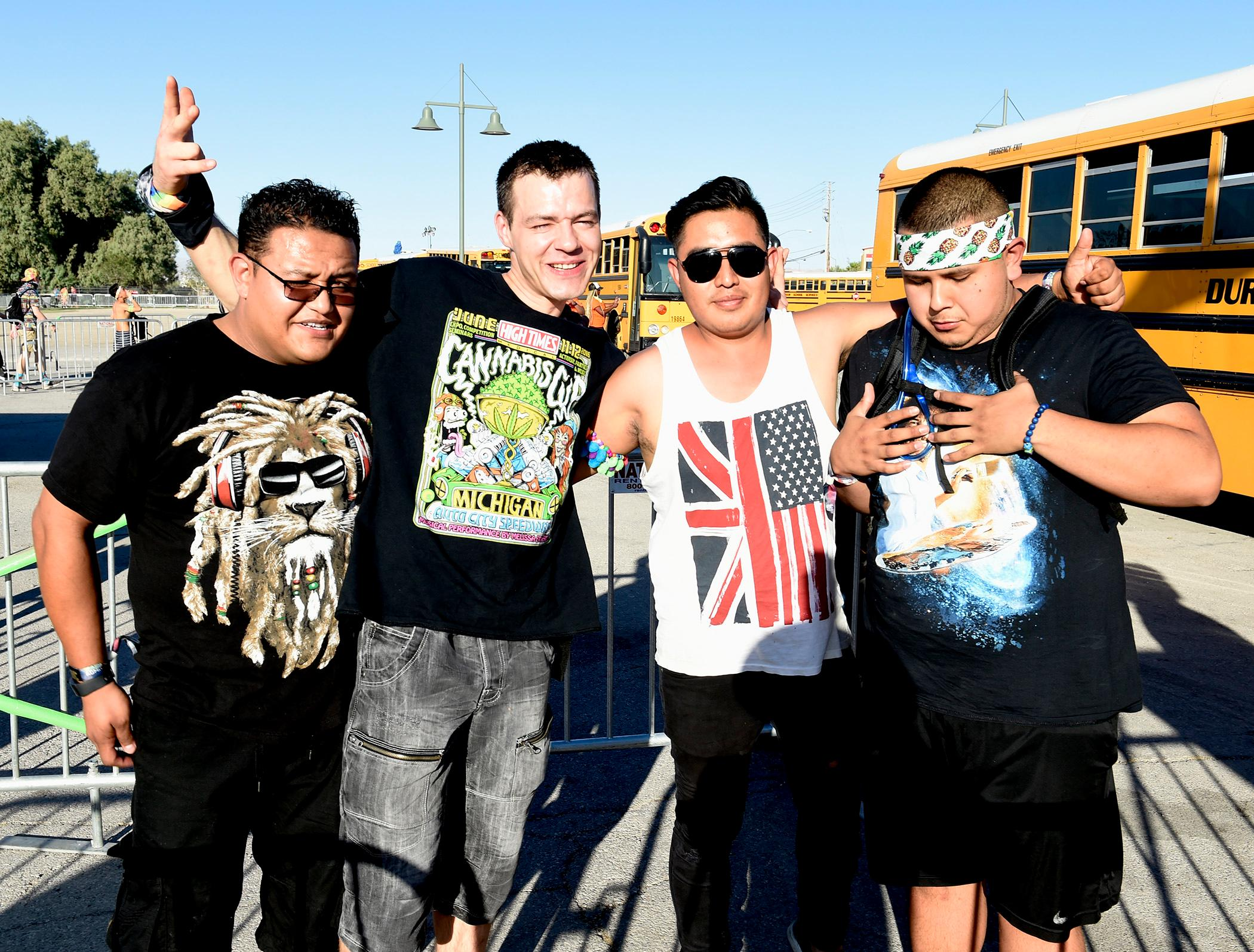 Electric Daisy Carnival fans waiting for the new FREE Park & Ride shuttle buses from Craig Ranch Park to Day 2 of the EDC event at the  Las Vegas Motor Speedway. Saturday, June 17, 2017. (Glenn Pinkerton/Las Vegas News Bureau)