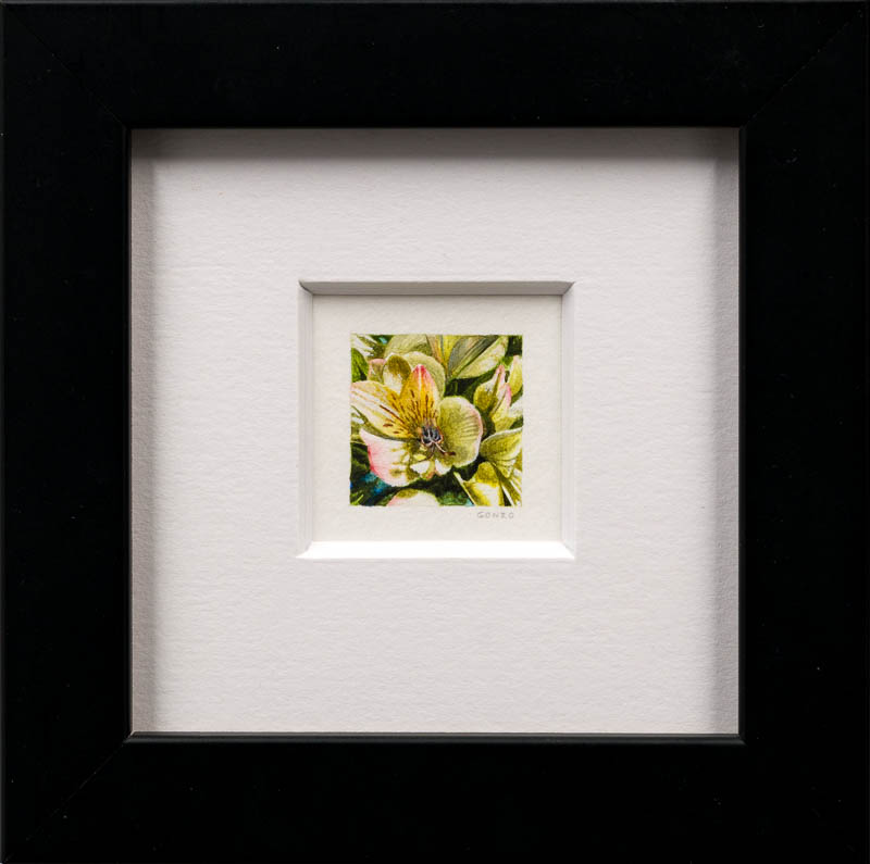 Yellow Flower by Eric M Gonzalez. Photo by Larey McDaniel.{ }The Parklane Gallery Annual International Miniature Show in Kirkland features around 400 amazing works of art. Each is 5 x 5 or smaller.