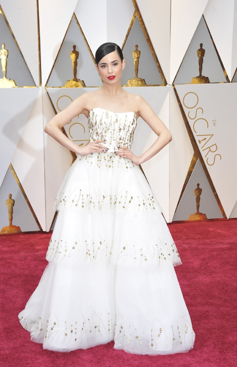 Another killer first time Oscars appearance! Sofia looks so glam with the red lip, sleek hairdo and three-tiered ballgown sprinkled with golden beaded detailing.  (Image: Apega/WENN.com)