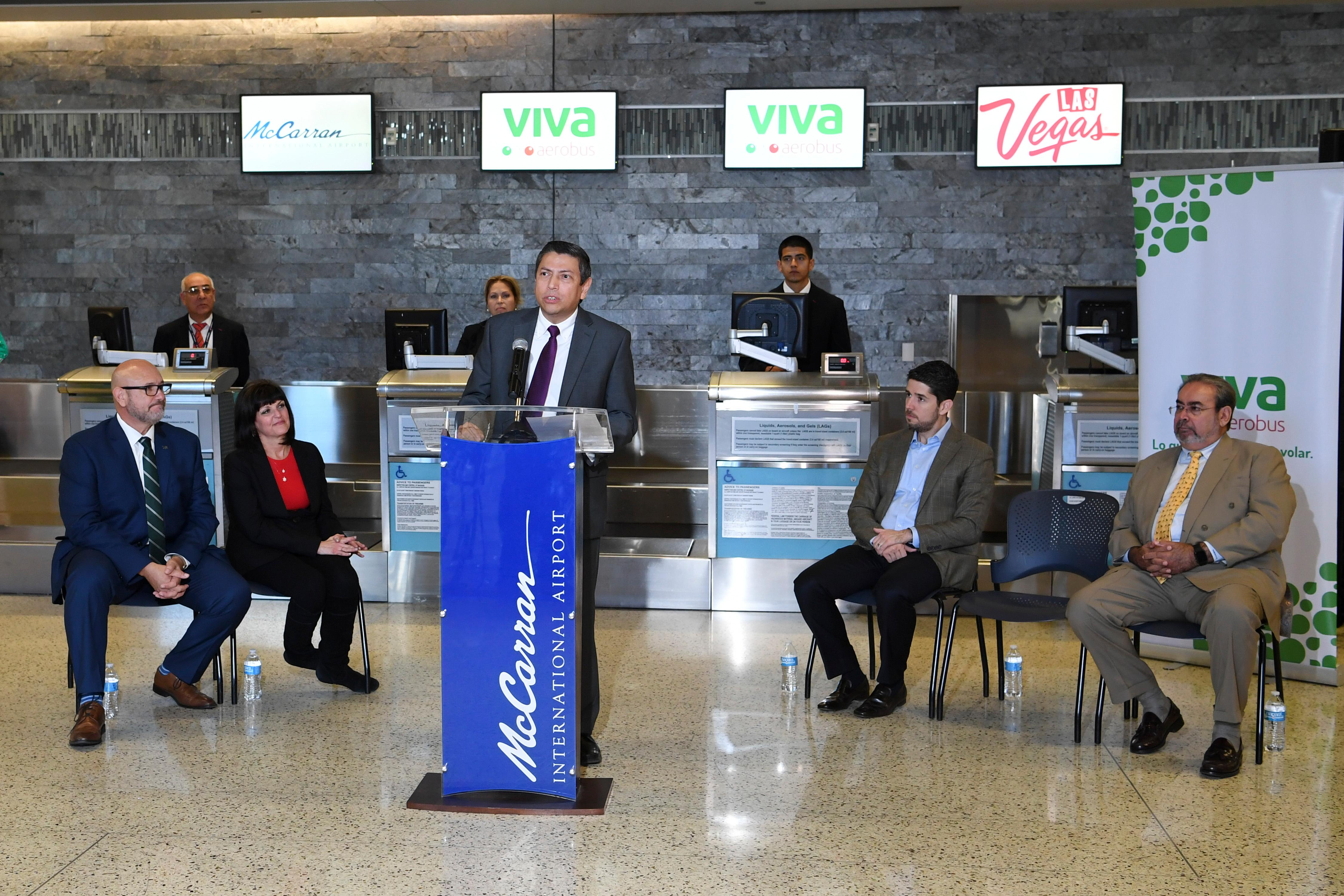 Consul General of Mexico Alejandro Madrigal speaks during a news conference at McCarran International Airport to announce new Viva Aerobus service between Las Vegas and Mexico City Friday, December 15, 2017. CREDIT: Sam Morris/Las Vegas News Bureau