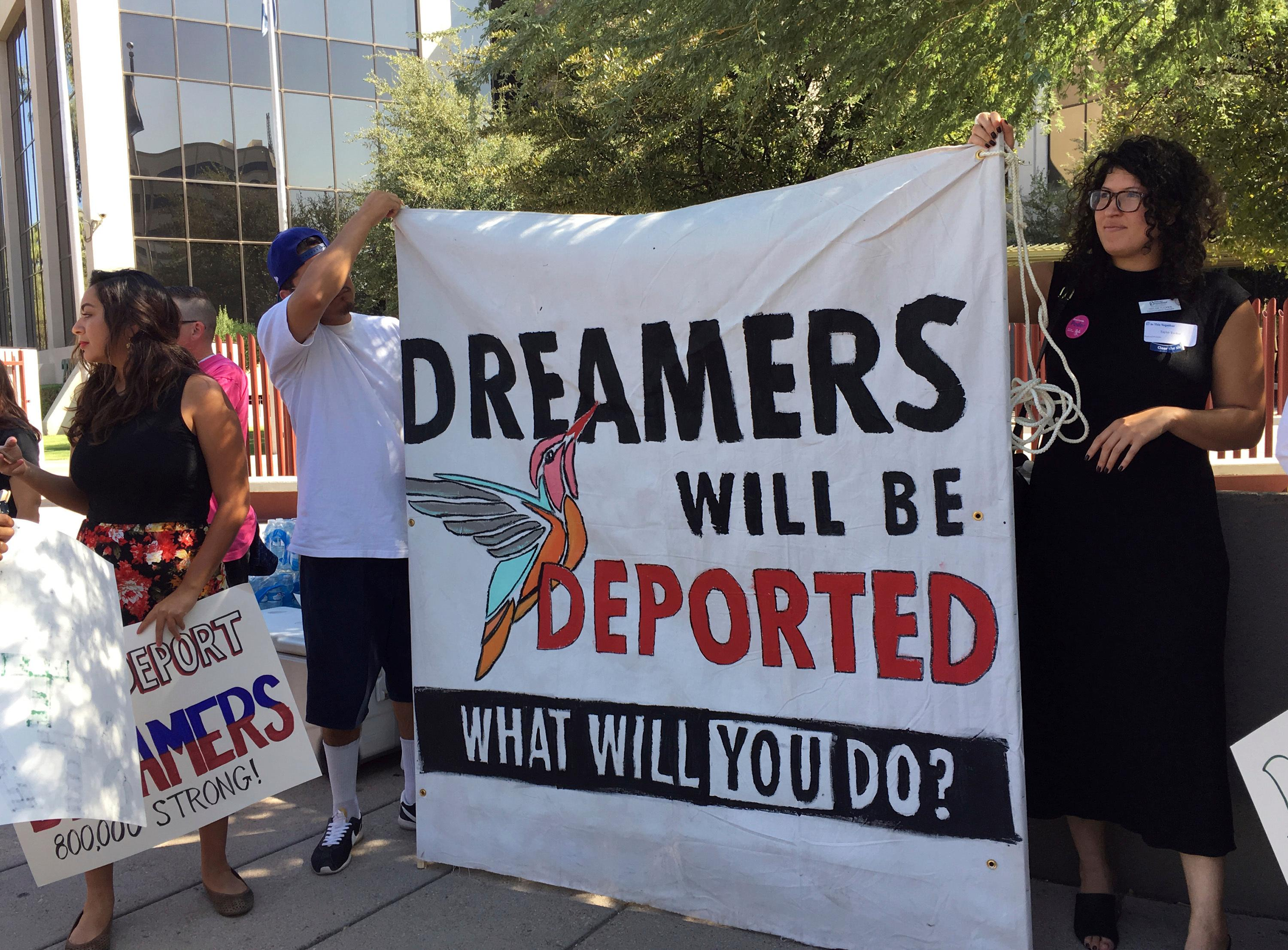 Immigrant rights groups, advocating for DACA, the program that allows youths who were brought to the country illegally as children to legally work and be shielded from deportation, rally in Phoenix, Ariz., Monday, Aug. 28, 2017.{&amp;nbsp;} (AP Photo/Astrid Galvan)<p></p>