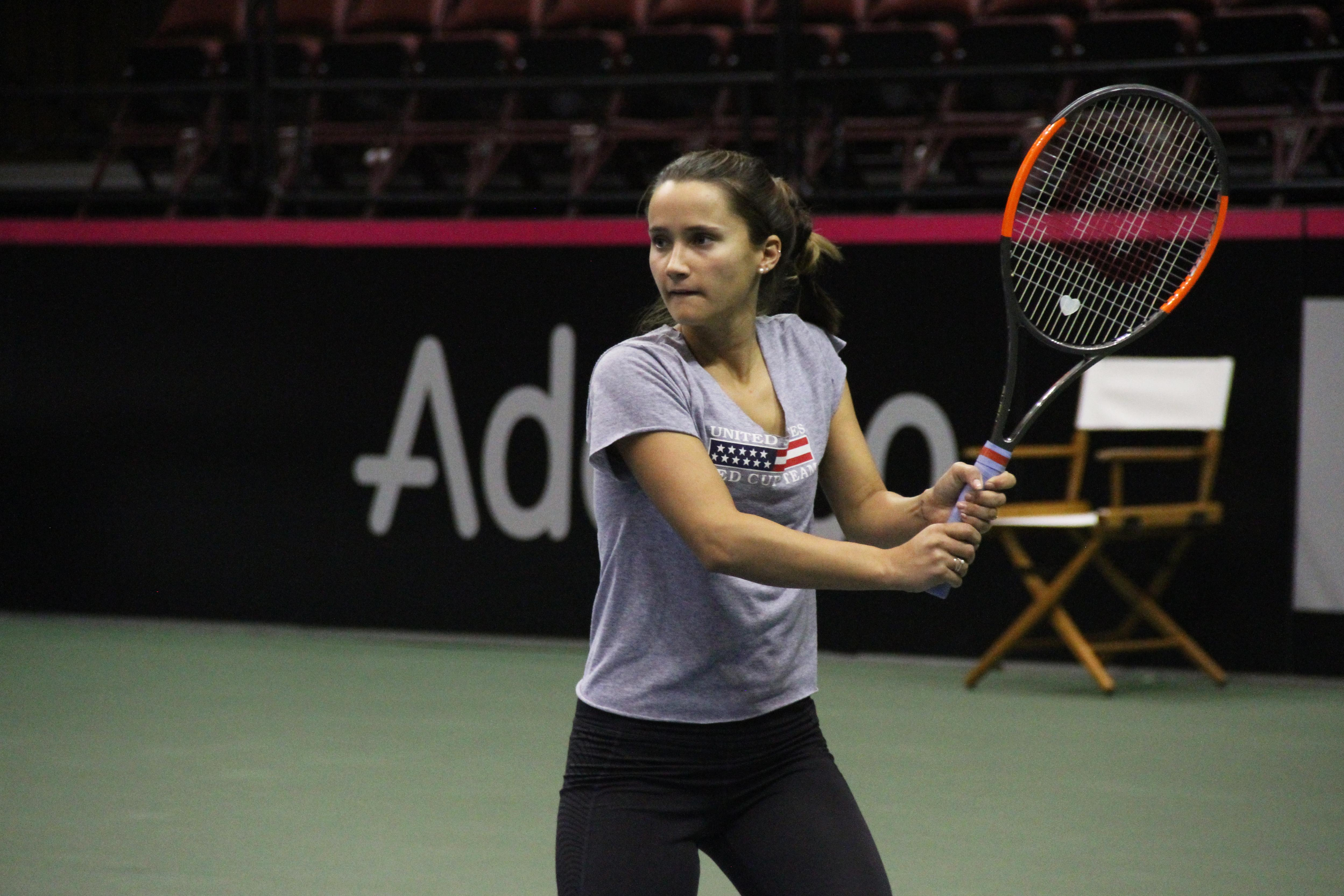 Lauren Davis practices at the US Cellular Center on Feb. 7, 2018, ahead of the Fed Cup. (Photo credit: WLOS Staff)