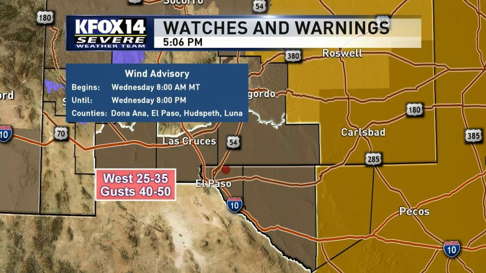 Strong winds gusts expected for El Paso Las Cruces on Wednesday KFOX