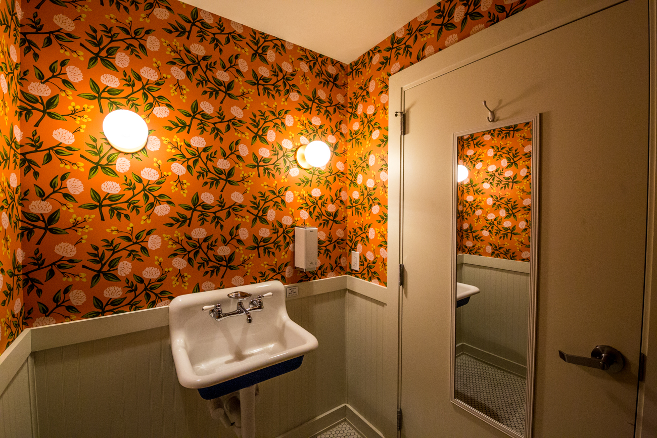 PLACE #2: LOCOBA by Platform / ADDRESS: 1201 Main Street (45202) / Platform's bathroom is covered in a peachy floral wallpaper and features a cute vintage sink. Take your photos, then check your #OOTD in the full-body mirror on the back of the door before popping back into the bar. / Image: Catherine Viox // Published: 8.8.19