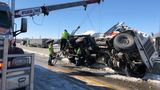 I-80 backed up for overturned cement truck