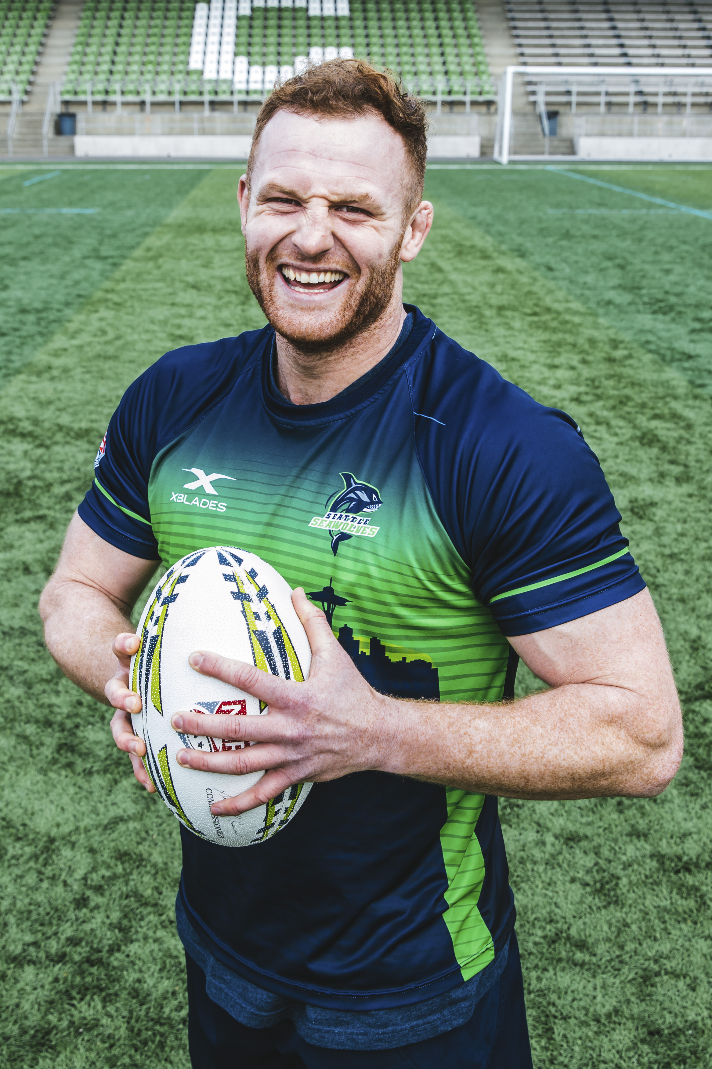 Ooooh, I have a crush on Brad! Maybe it's the fact that he's 6'5 or maybe it's because he had a fun energy at the shoot but ANYWAYS. This handsome man, 26, plays Lock for the Seawolves and hails from Canterbury, New Zealand and his favorite snack is chocolate (Image: Sunita Martini / Seattle Refined).