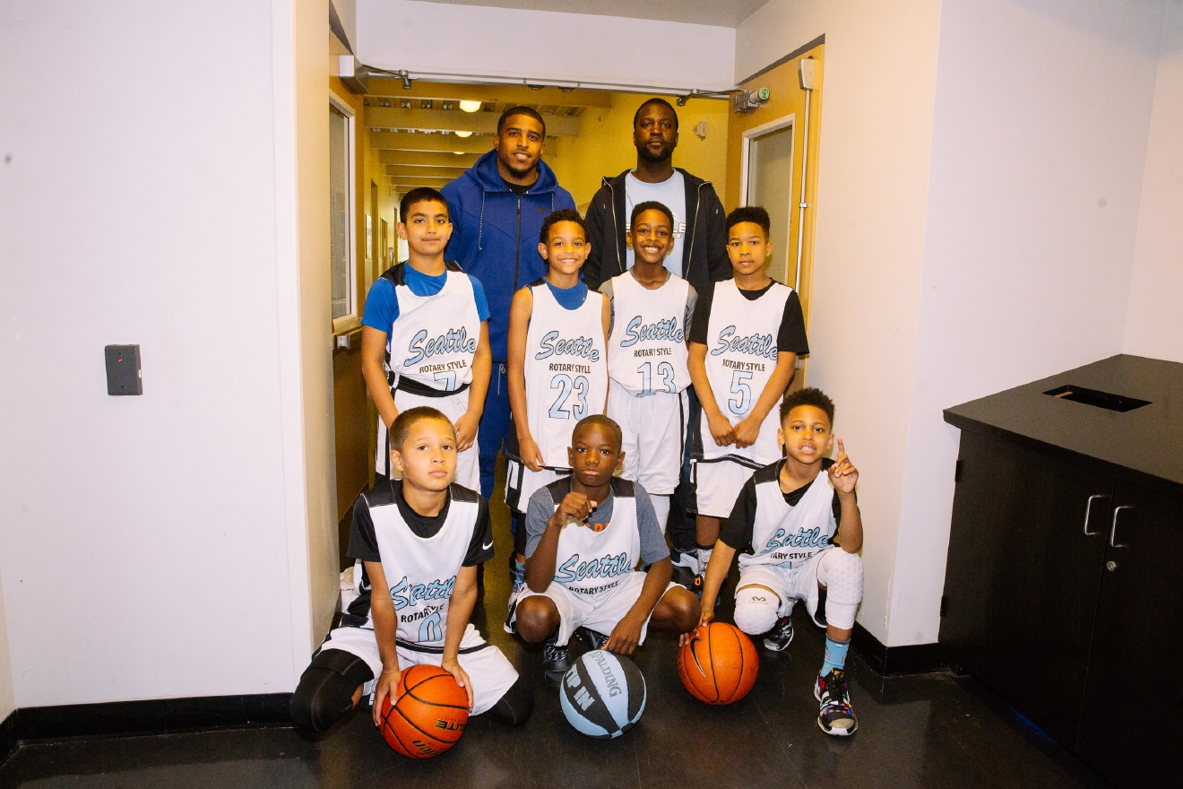 Seattle Seahawks Bobby Wagner #54 and a KJ Wright #50 were the celebrity coaches for the Seattle Rotary Style (Blue) 3rd Graders vs. MVP Basketball Club of Portland, Oregon. The event took place at Cleveland High School and was a fundraising event that supports the Seattle Rotary Style (Blue) 3rd Grade Basketball Team. (Image: Joshua Lewis / Seattle Refined)
