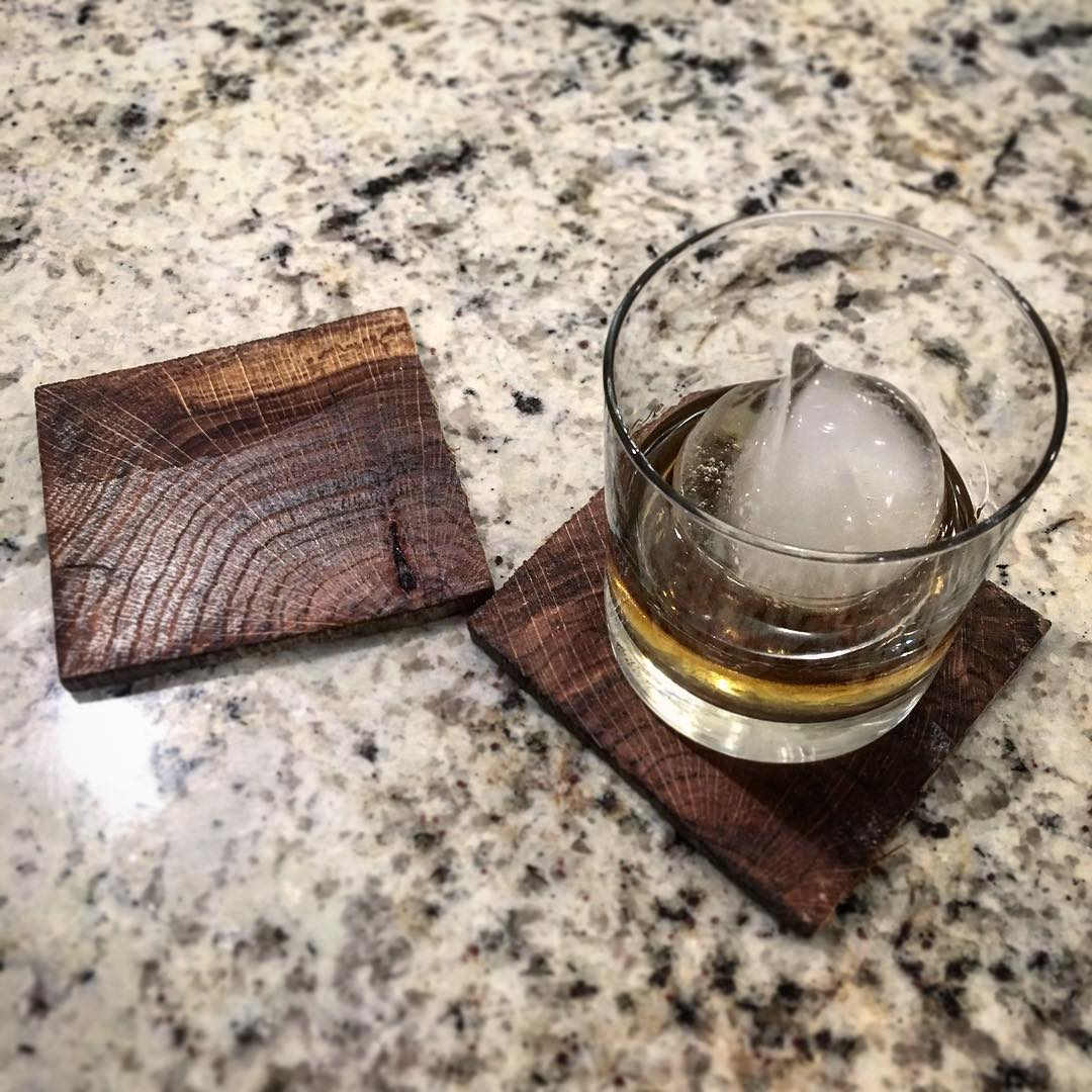 Coasters cut from oak beams that formerly belonged to an over-100-year-old barn in Hamilton, OH / Image courtesy of Ohio Valley Reclaimed // Published: 8.24.17