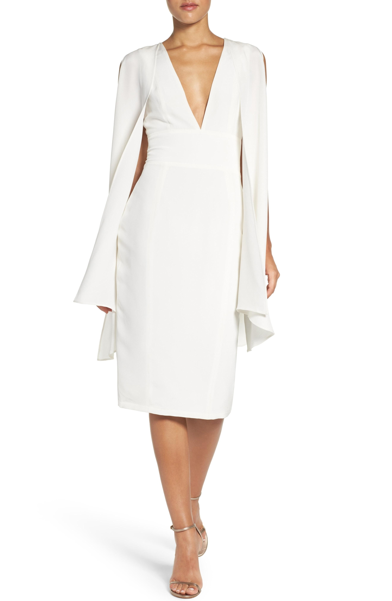 MISHA COLLECTION, 'Evona' Caped Silk Midi Dress, $350,  Nordstrom.com (Image: Courtesy Nordstrom)