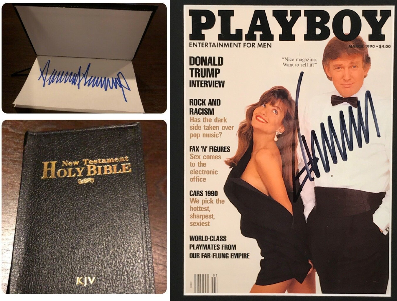 Trump signed Bible going for hundreds, Playboy magazines for thousands on eBay. (Photo: Screengrabs from eBay)