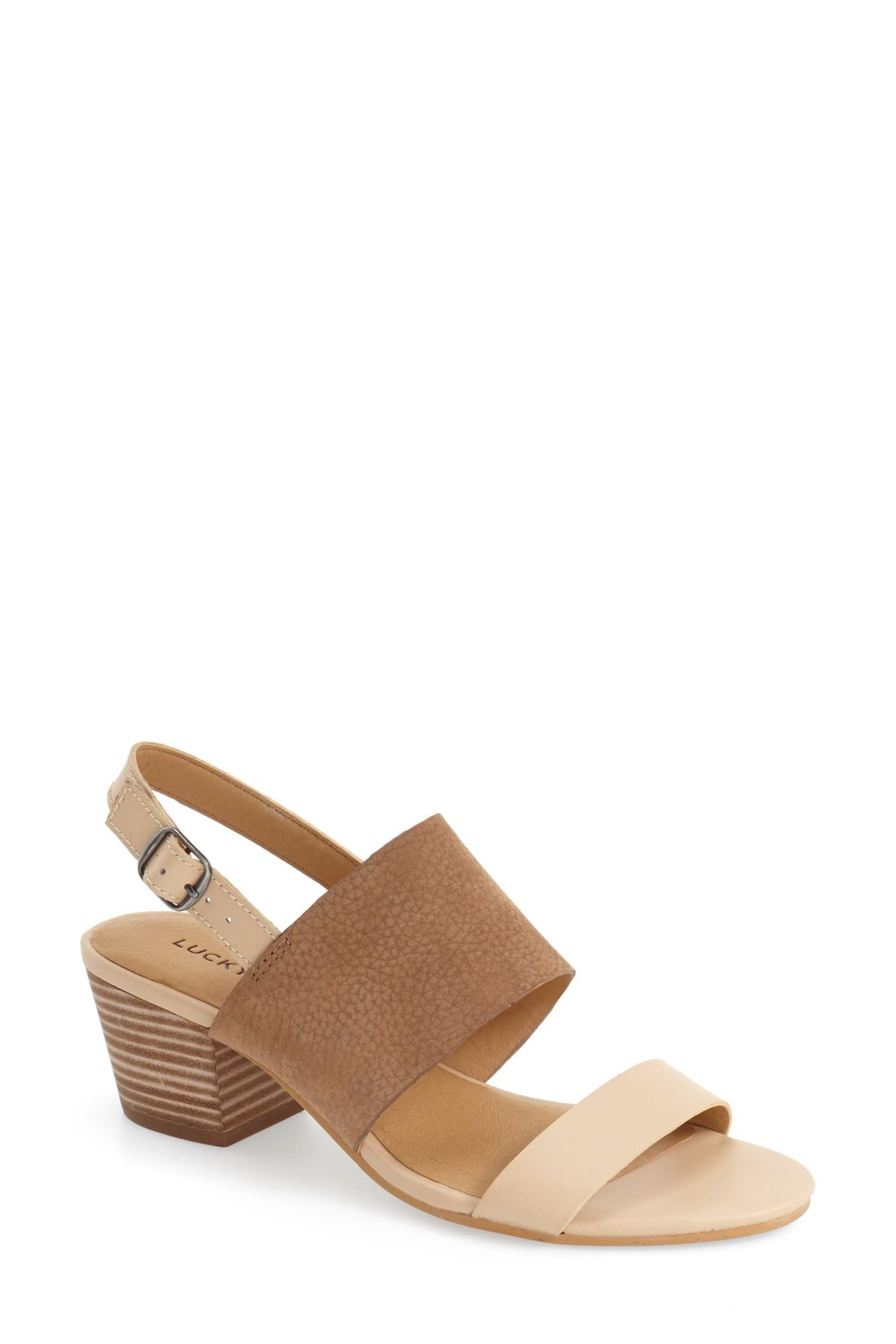 Lucky Brand Gewel Block Heel Sandal ($49.97). It's time to celebrate Momma.  Here is our Nordie's gift guide for items under $50! (Image: Nordstrom)