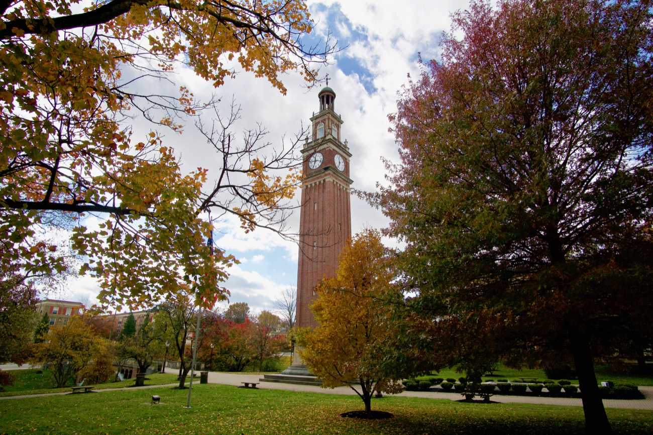 <p>Distinctive features of Withrow's exterior include an arching entry bridge, a tree-lined ravine, an expansive sports complex behind the school, and a 114-foot clock tower. The latter is arguably the most recognizable feature on the school's campus. Visitors can climb up over 100 steps inside to get an amazing vantage point out of the window at the top of the tower. An inscription from the book of Psalms is written on the base of the tower, which reads: &quot;So teach us to number our days that we may apply our hearts unto wisdom.&quot; ADDRESS: 2520 Madison Road (45208) / Image: Brian Planalp // Published: 11.9.18</p>