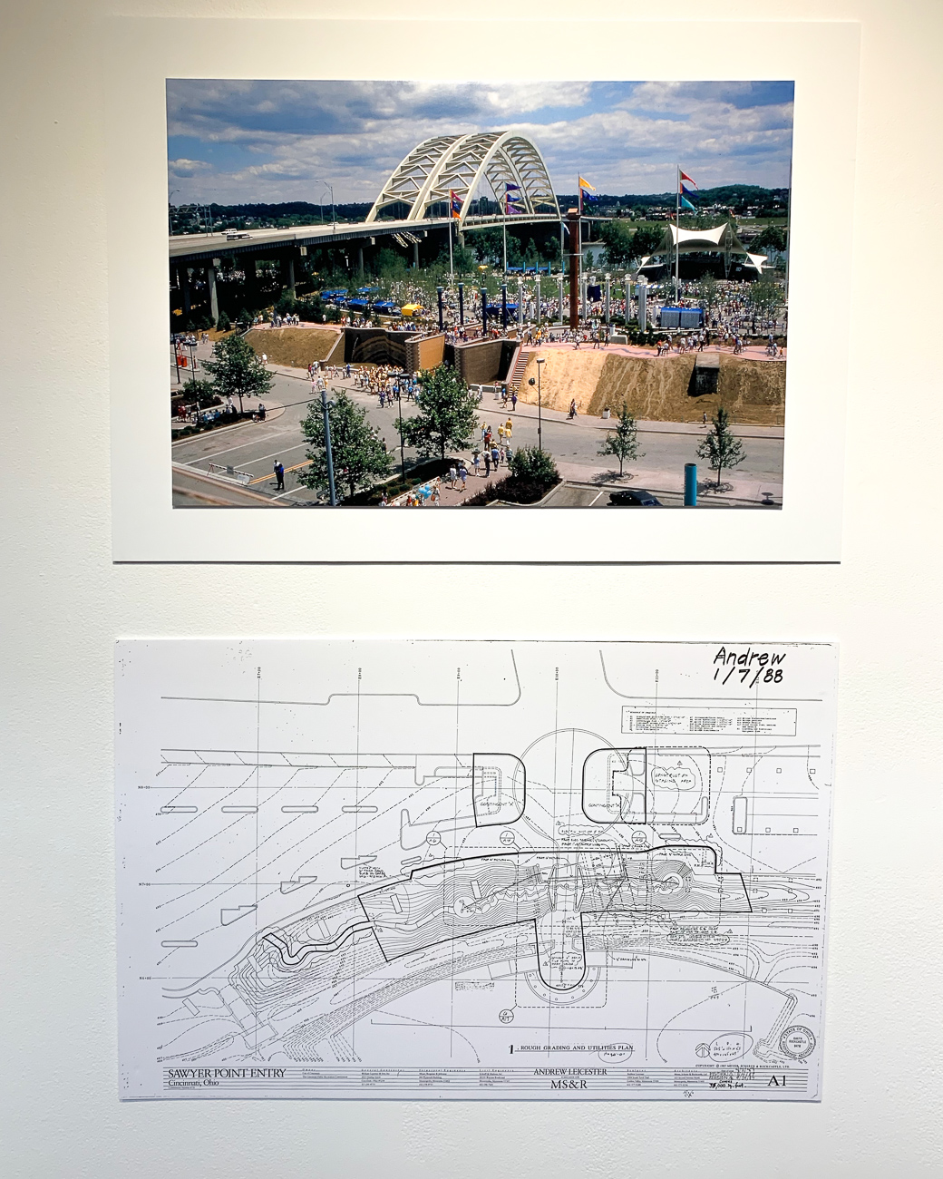 An old photo and blueprints of the Bicentennial Commons Gateway Sculpture right after it was built in 1988 / Image: Phil Armstrong // Published: 8.13.19